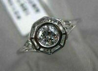 ANTIQUE .35CT OLD MINE DIAMOND 18K WHITE GOLD 3D FILIGREE ENGAGEMENT RING 21350