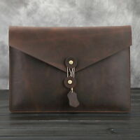 Men's Genuine Leather Business Handbag Clutch A4 Document Case Vintage Briefcase