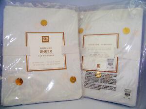 Pottery Barn Emily Meritt Shimmer Sheer Metallic Dottie Gold Dot 44x96 White