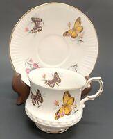 Queens Rosina China Tea Cup & Saucer Butterflies Golden-Edged Fine Bone England
