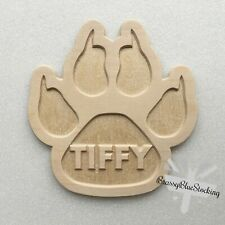 **PETS** Carved Wooden Craft Shape - Carved Personalised Name Claw Print.