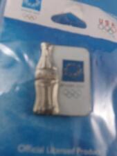 ATHENS OLYMPICS 2004 COCA COLA COKE SILVER BOTTLE PIN PINBACK COLLECTOR BUTTON