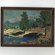 Vintage Framed Landscape Pebble Art Crystal Mid Century Modern 30.5 x 22.5 Inche