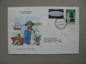 GILBERT ISLANDS, cover FDC 1977, bicentenary Captain Cook, explorer sailship