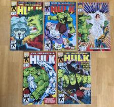 NM to NM+ Incredible Hulk 398,399,400,401,402 Lot Set Run Marvel Comics Foil