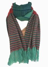 Himalayan Weavers Green and Orange Striped Scarf, 100% Wool, Natural Dyes