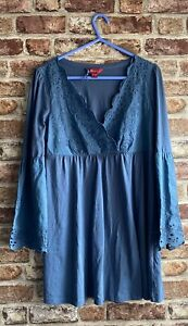 Ladies Monsoon Blue Cotton smock long sleeves embroidery Top Size 8 lightly worn