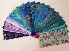 "40 x Batik Fabric Quilting Craft Layer Cakes 10"" x 10"" Squares Blue Green Purple"