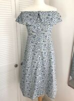 Warehouse Bardot Dress Size 10 Blue Cottagecore Ditsy Floral Button Up NWT
