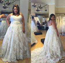 Sweetheart White/Ivory A-Line Lace Wedding Dresses Bridal Gowns Custom Plus Size
