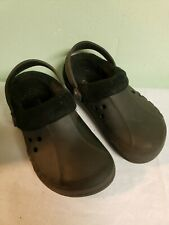 Crocs Black Faux Fur Lined Youth 12/13