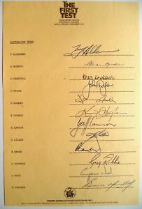 AUSTRALIA v ENGLAND 1982-83 1ST TEST THE ASHES OFFICIAL CRICKET AUTOGRAPH SHEET
