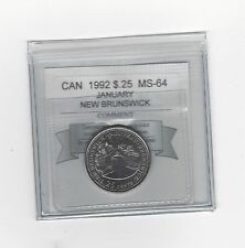 **1992 Jan. N.B.** Coin Mart Graded Canadian,25 Cent, **MS-64**