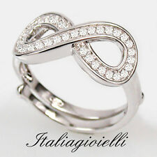 Splendente Anello Donna Infinito Regolabile in Argento 925 con Brillanti