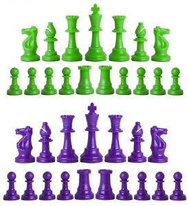 Staunton Triple Weighted Chess Pieces – Set 34 Neon Green & Purple - 4 Queens