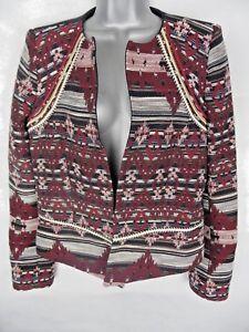 ALEPH By MEG Tapestry Jacket Size 12/40 Blazer Coat Cotton Blend Folk Aztec