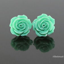 Damen grün  Harz Blumen Ohrring/ Ohrstecker 14,5mm Edelstahl  Modeschmuck