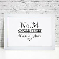 Personalised New Home Number Street Name House Warming Gift Picture Frame Print