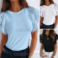 UK Womens Solid T-Shirt Tops Ladies Lace Ruffle Short Sleeve Casual Blouse Plus