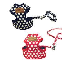 Soft Adjustable Puppy Dog Cat Harness Vest Fabric Pet Lead Leash Black & Red