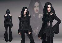 Eva Lady ETT002 Black Gothic Romantic Embroid Off Shoulder Open Sleeve Top
