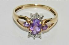 9ct Gold Amethyst & Diamond Fancy Cluster Ring - size P