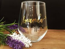 DIY Personalised wine glass decal with date and name