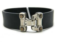 David Yurman 13.5mm Anvil Black Leather Bracelet Bronze/Silver Clasp NWT