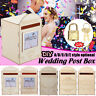 DIY Wishing Card Post Box Wooden Carved Wedding Engagement Party Rustic+Lock Key