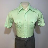 Vtg 60s 70s MARTINI Disco Shirt Green POLYESTER Boogie Nights Groovy MENS SMALL