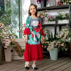 Muslim Children Girls Dress Abaya Dubai Turkish Islamic Clothing Kaftan Dress