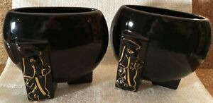 "Pair FAPCO Joan Lea Creations ""Shanghai"" Vases, Art Deco, Fredericksburg *Flaw"