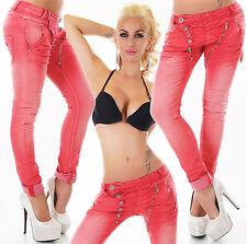 Coloured Boyfriend Damen-Jeans mit mittlerer Bundhöhe