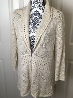 JM Collection Womens Knit Cardigan in Beige 3/4 Length Sleeves Size 1X NWT