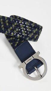 Salvatore Ferragamo Men's Size 42 US /105 EU Woven Stretch Belt Blue/Green