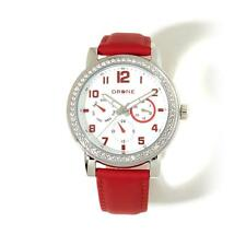 DRONE PRECISION TIMEPIECES RED LEATHER STRAP CRYSTAL BEZEL SILVERTONE WATCH HSN
