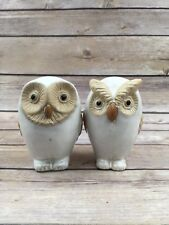 PAIR OF SNOW OWL - WHITE OWL CERAMIC FIGURINES HOOT HOOT! CUTE~