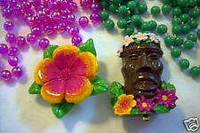 """1 Tropical Tiki Man & 1 Flower Blossom"" Mardi Gras Necklaces-2 Beads (B572-3)"