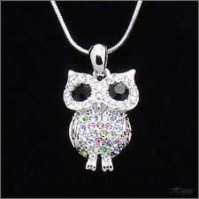Owl Bird Night Pendant Necklace Charm Chain Crystal Multicolor Silver Tone Teen