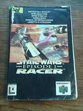 * Nintendo 64 * STAR WARS EPISODE 1 RACER * MANUAL ONLY * N64 * NO GAME