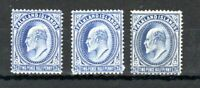 Falkland Islands 1904-12 2 1/2d  x 2 shades and 1912 2d 1/2d  deep blue MH