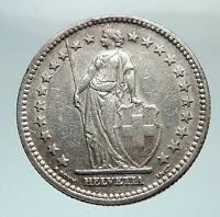 1946 SWITZERLAND - SILVER 2 Francs Coin HELVETIA Symbolizes SWISS Nation i80251