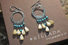 Silpada RARE HTF Sterling Silver Turquoise Mother of Pearl Earrings  W1346