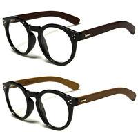 New Vintage Style Clear Lens Round Glasses Black Wood Temple Unisex Eyeglasses