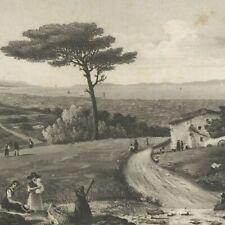Vue des îles d'Hyères - Aquatinte originale Louis Garneray XIXe