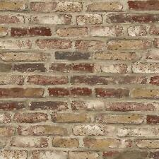 Wallpaper New Tan Red Taupe Off White Cream Faux Brick Smooth No Texture