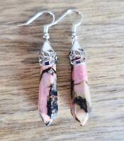 Rhodonite Stone Silver Plated Earrings Natural Gemstone Chakra Point Reiki Rock