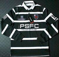 Polo Sport Ralph Lauren Logo Black White Stripe Rugby Slim Shirt XS,M $145