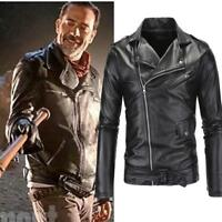 Mens Walking Dead Negan Faux Leather jacket Casual Cosplay Costume Slim Fit Coat