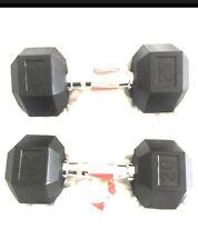 Weider DRH20 Hexagonal Rubber Dumbbells. (Two -20lbs Dumbbell Weights) NEW